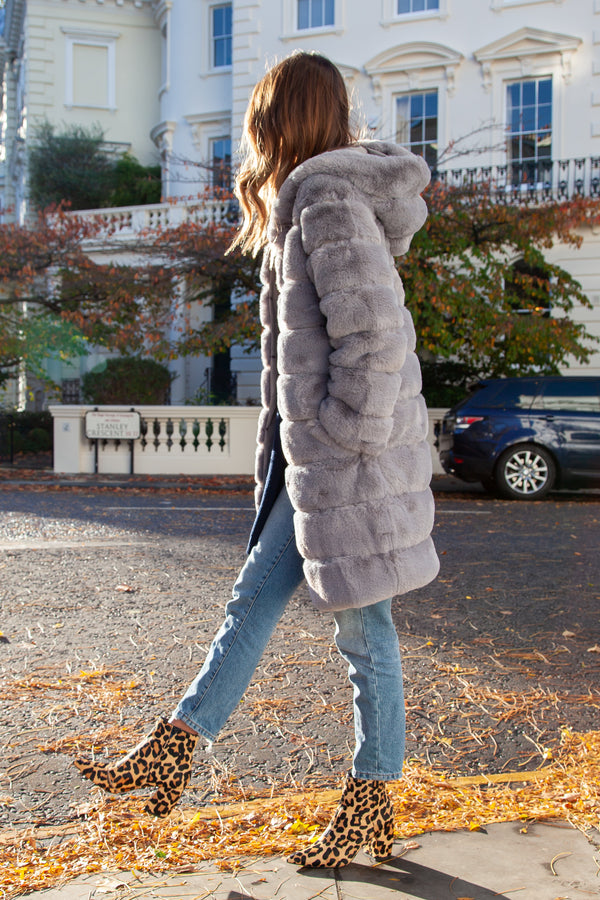 Luxe Faux Fur Longline Hooded Coat in Grey