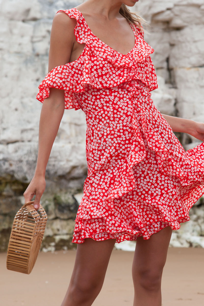Cold Shoulder Ditsy Floral Dress in Red/White
