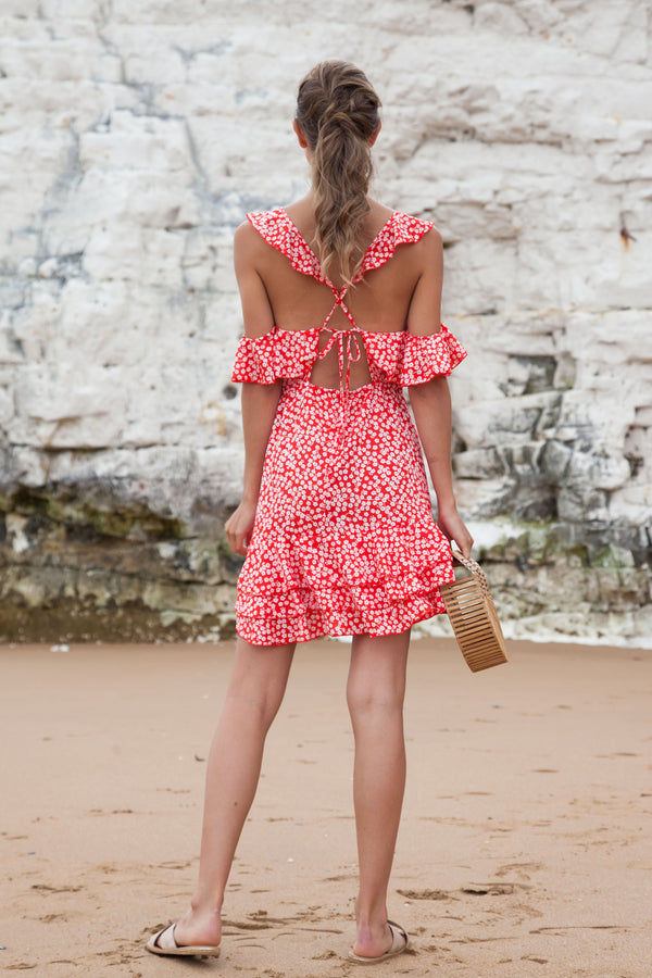 Red Frill Cami Ditsy Dress