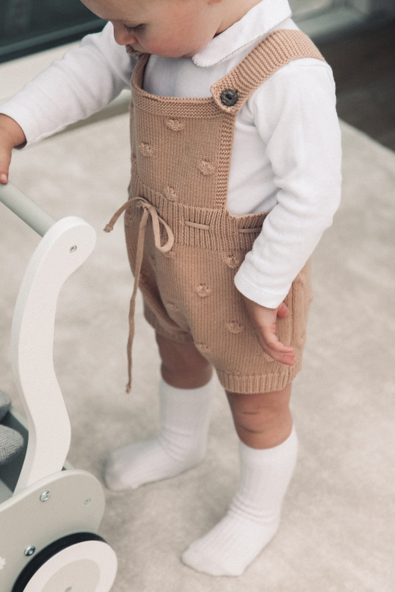 Tan Bobble Tie Waist Shorts Romper