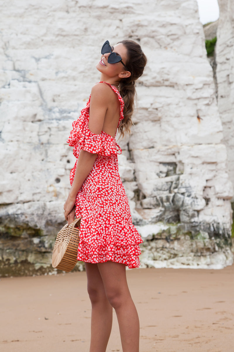 Red Frill Cami Ditsy Floral Dress