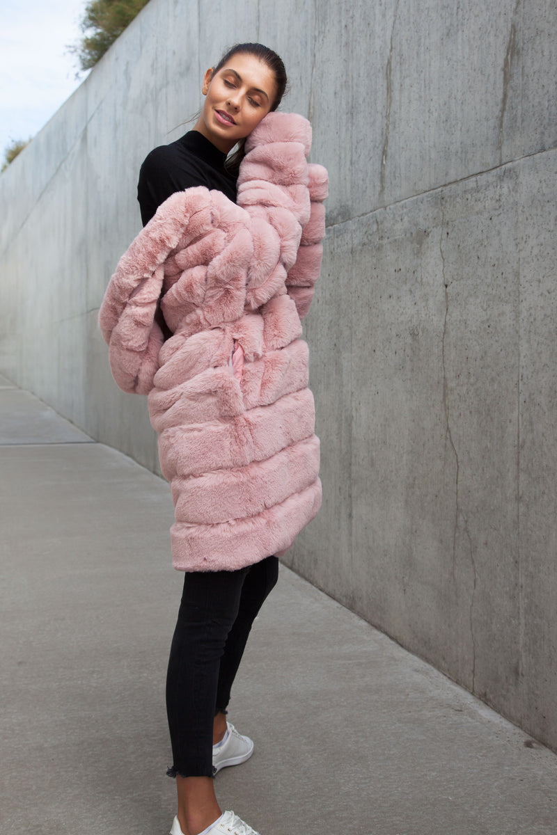 Luxe Faux Fur Longline Hooded Coat in Pink