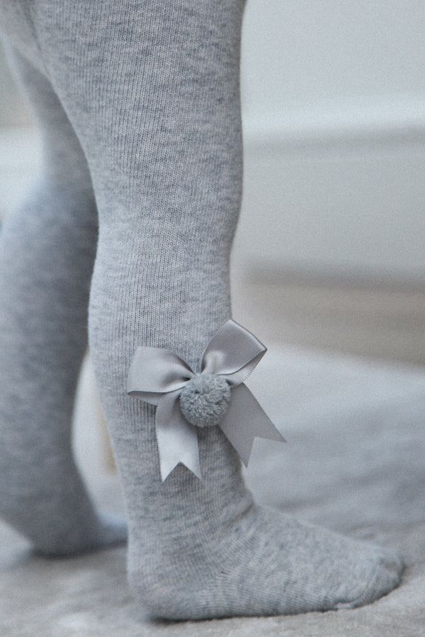 Grey Bow Pom Pom Tights