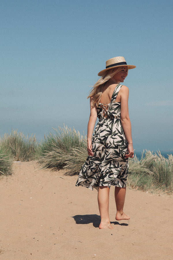 Tie Back Cotton Summer Midi Dress in Leaf Print