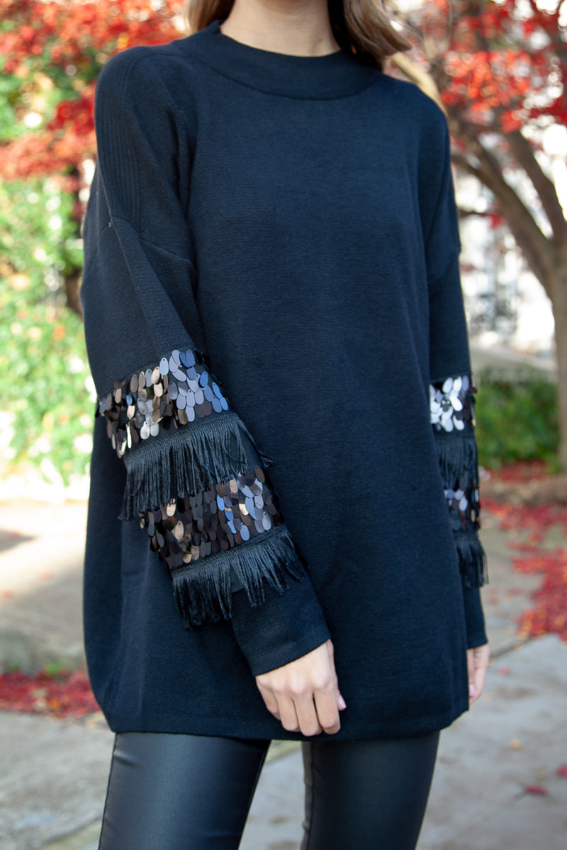 Tassel Embellished Longline Knitted Jumper in Black