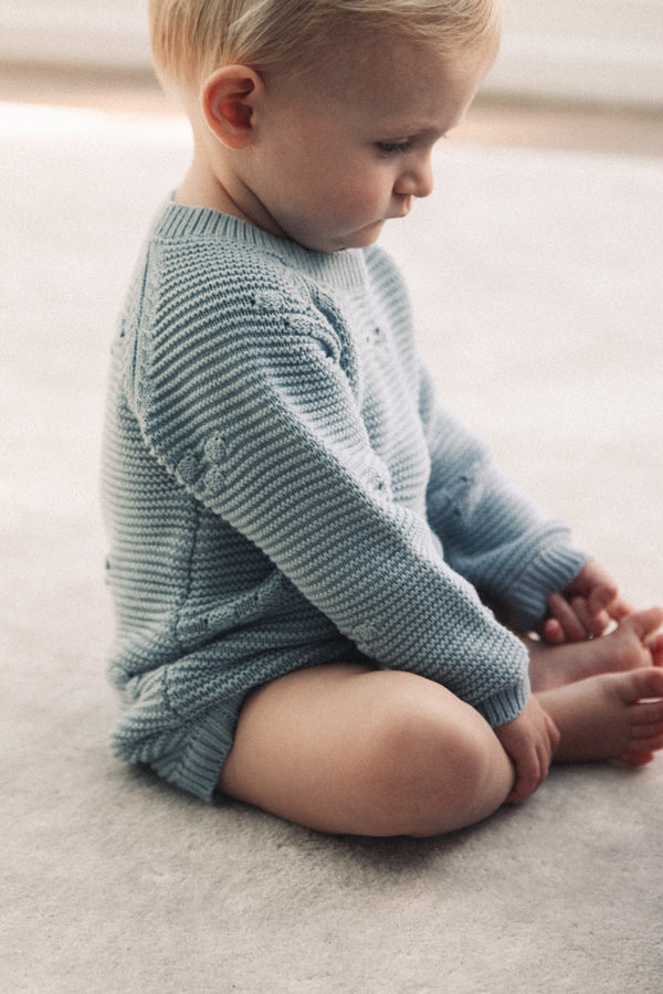 Dusky Blue Cotton Knitted Romper (and bonnet)
