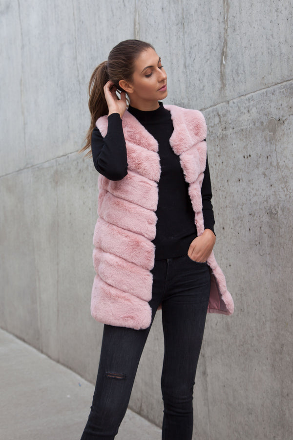 Luxe Faux Fur Panelled Gilet in Pink