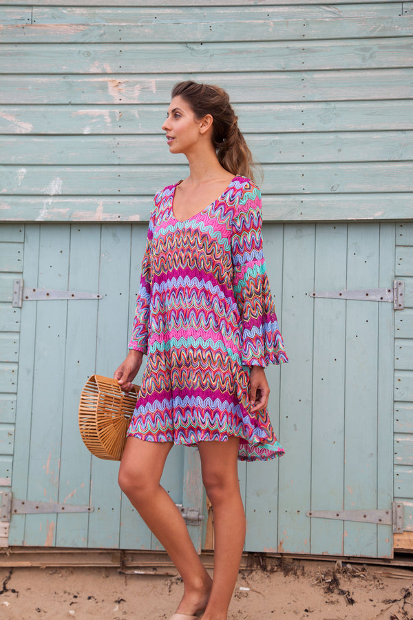 Zig Zag Knitted Mini Dress in Pink/Multi