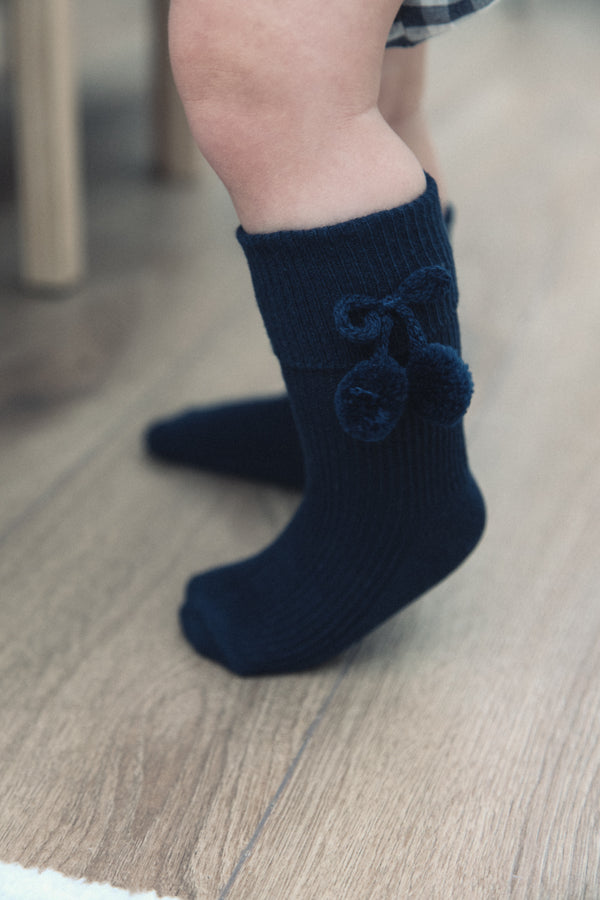 Navy Pom Pom Short Socks