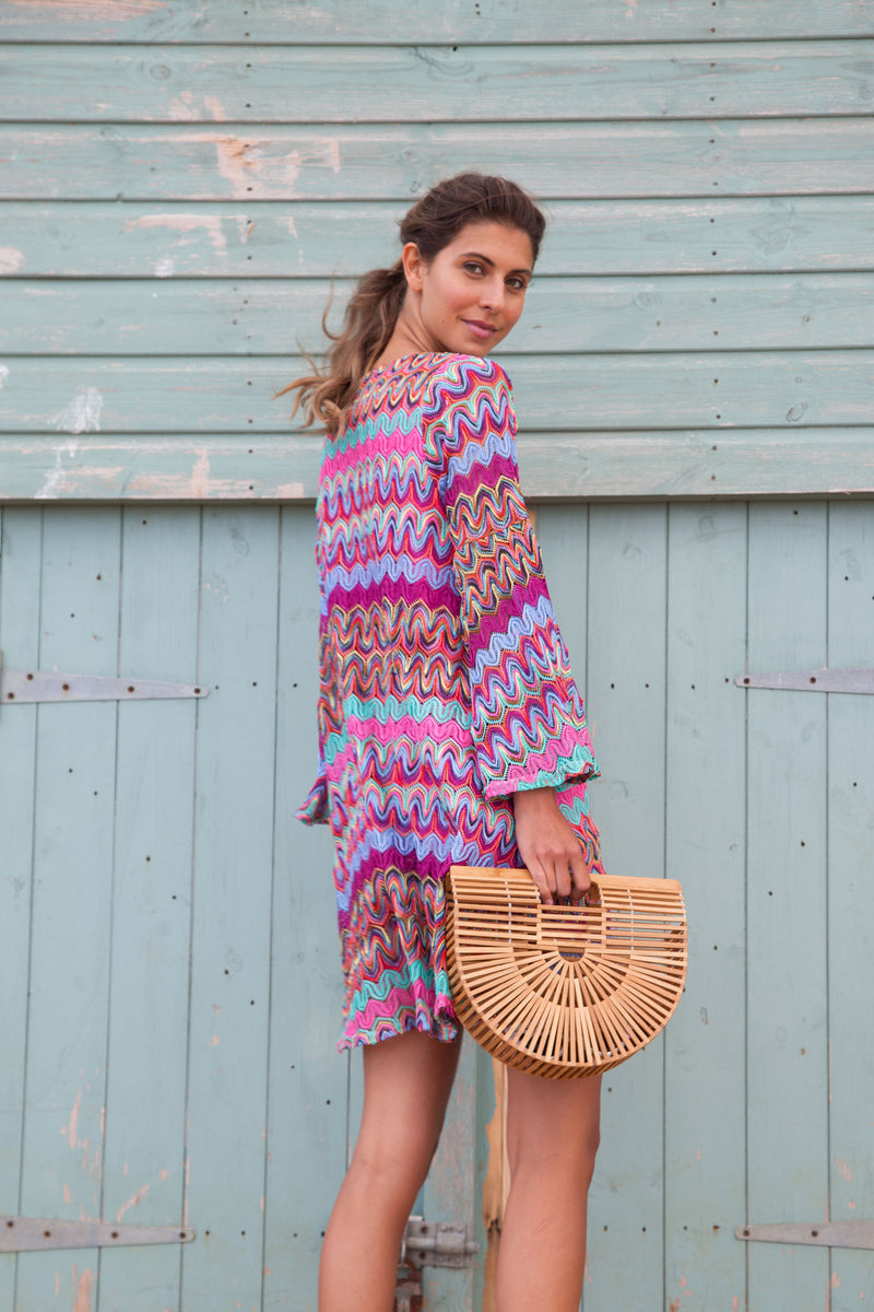 Zig Zag Knitted Dress in Pink/Multi