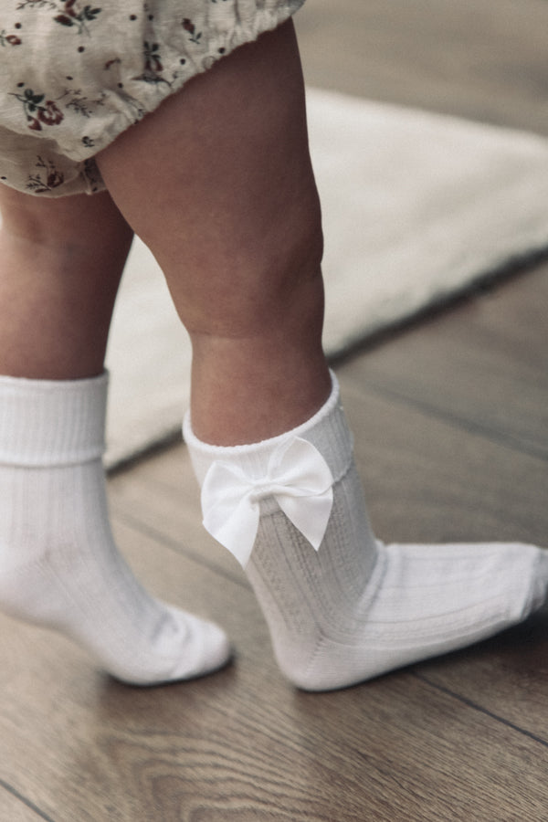 White Bow Short Socks