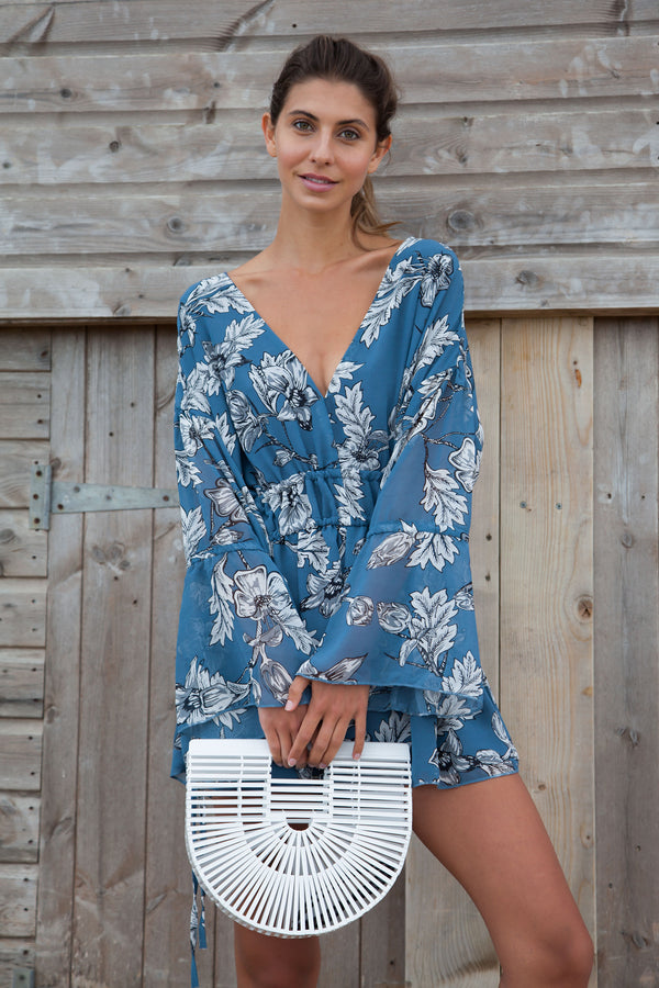 Blue Floral Plunge Neck Playsuit