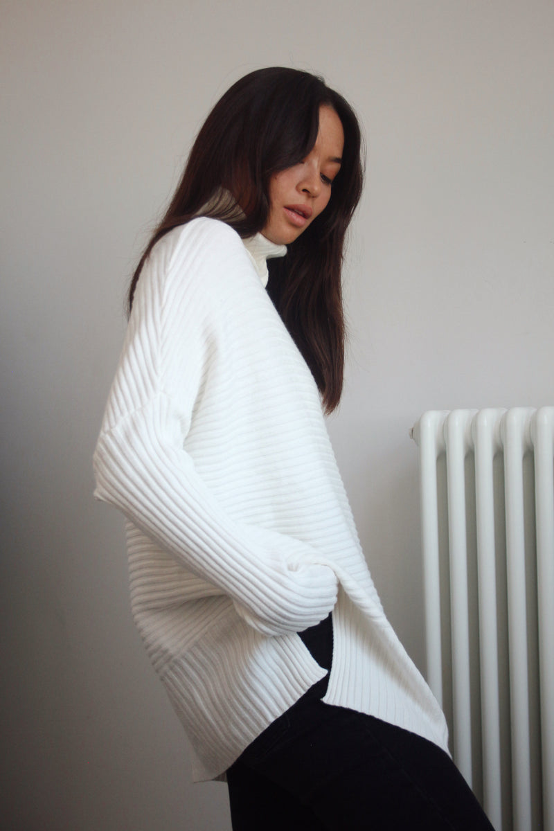 White Soft Ribbed Roll Neck Jumper