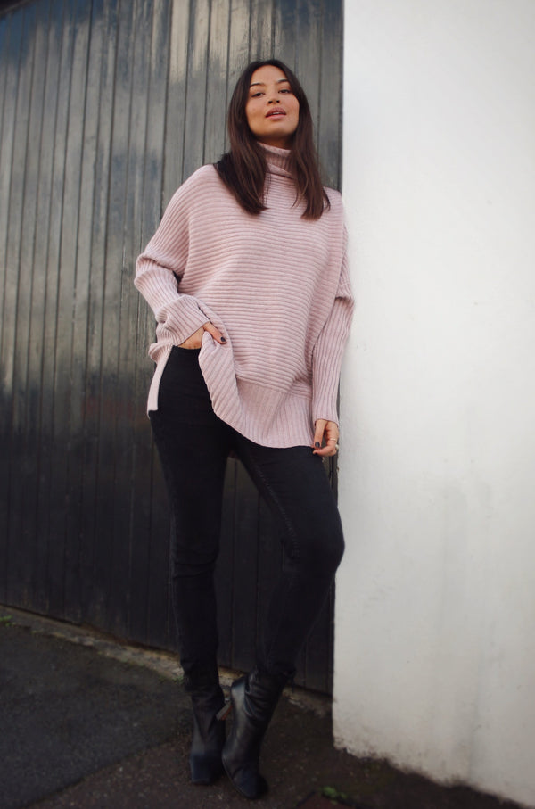 Dusky Pink Soft Ribbed Roll Neck Jumper