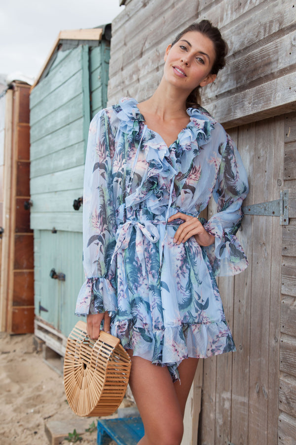 Blue Floral Frill Long Sleeve Playsuit