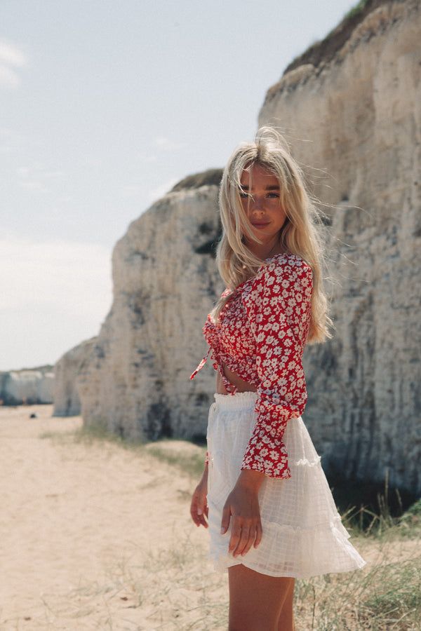 Red Floral Shirred Long Sleeve Crop Top
