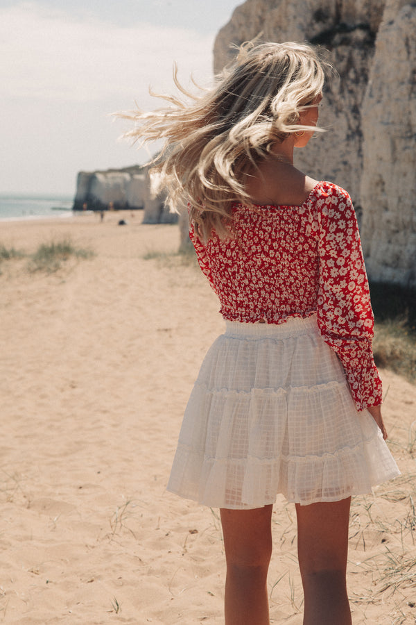 White Cotton Frill Mini Skirt