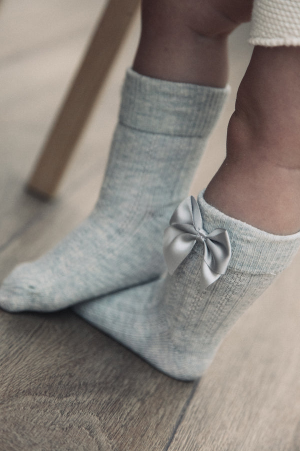 Grey Bow Short Socks