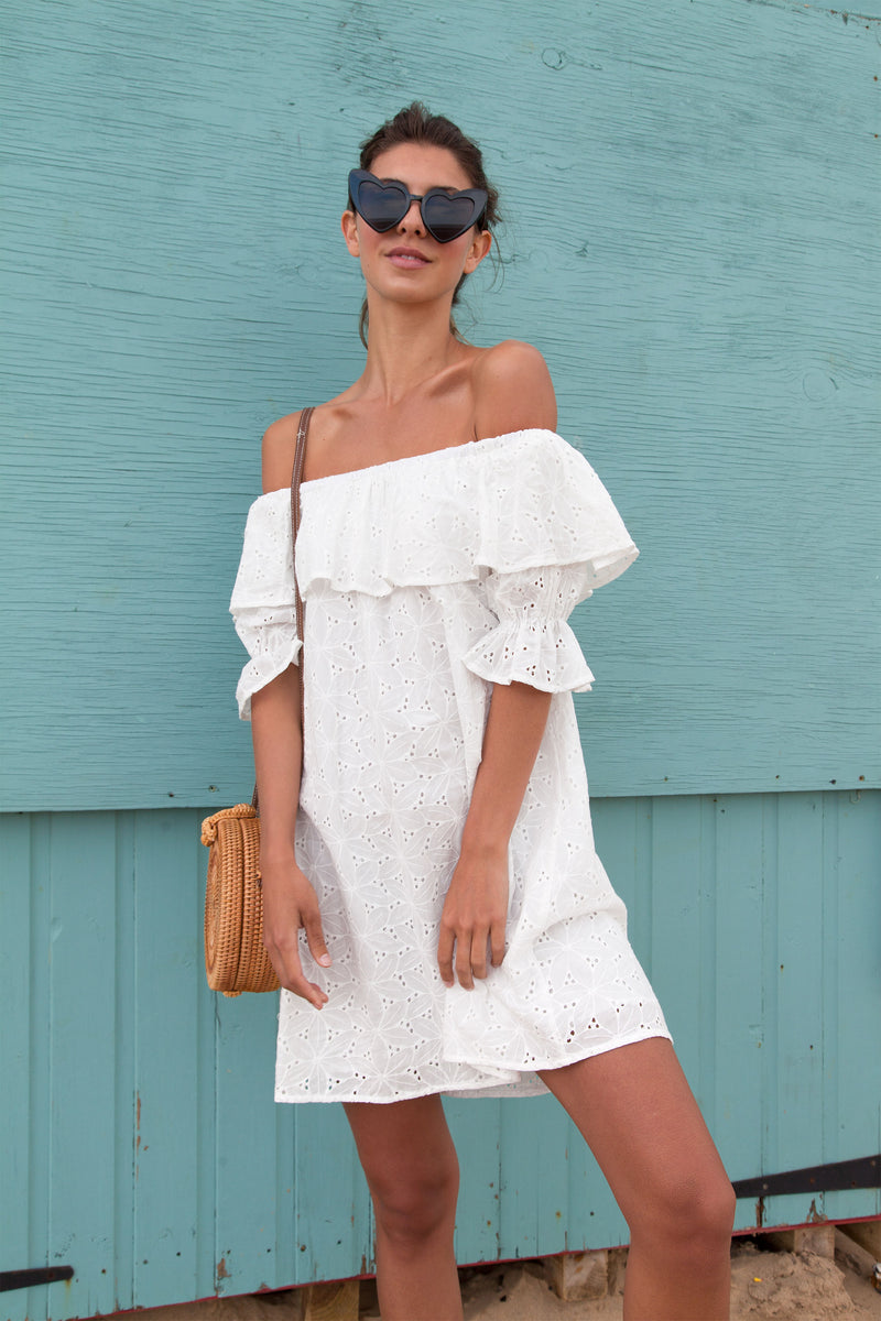 White Cotton Broderie Off Shoulder Dress
