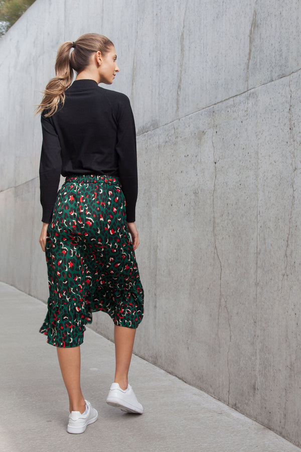 Dark Green Leopard Frill Midi Skirt
