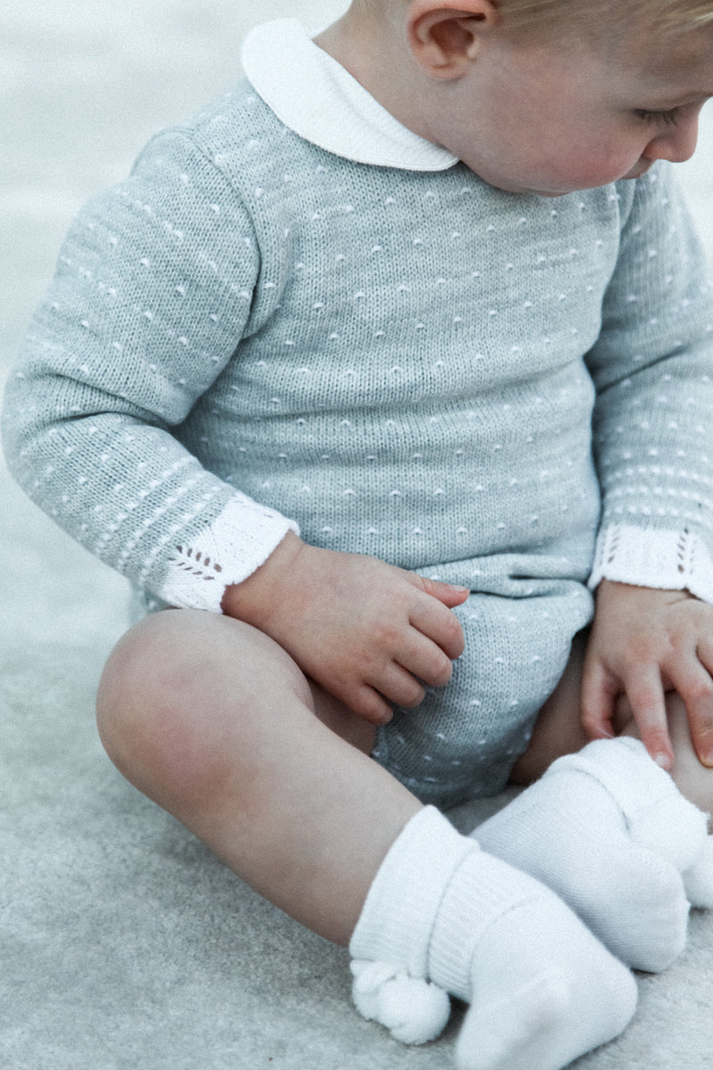 Grey White Collared Knitted Dot Romper
