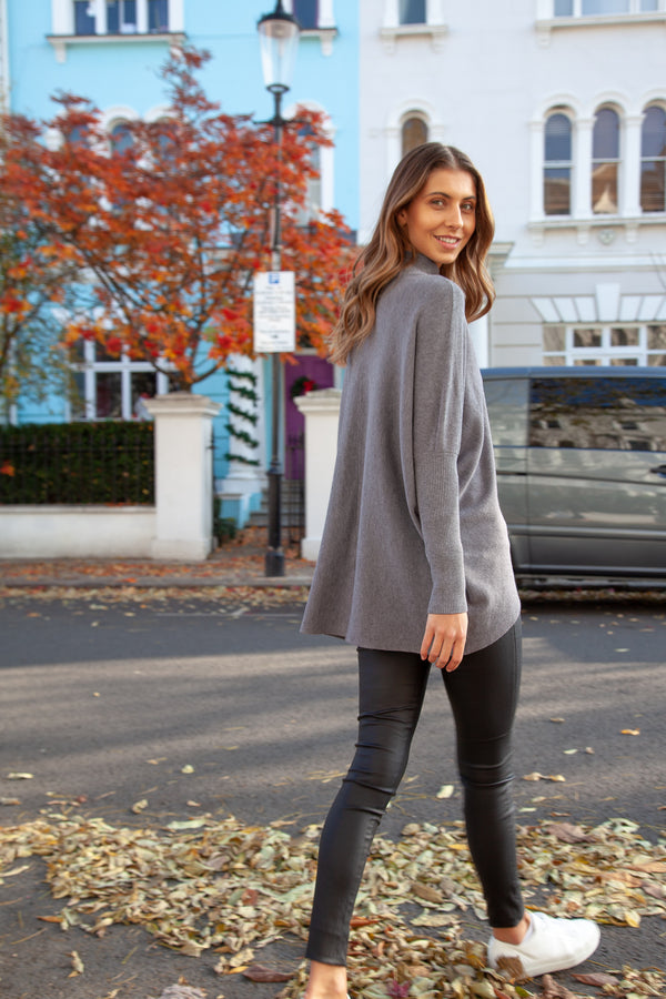 Soft High Neck Knitted Jumper in Grey