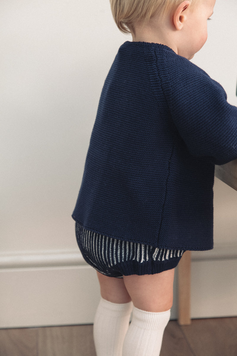 Cotton Navy Knitted Cardigan Set