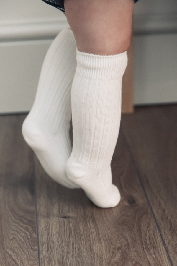 Cream Plain Baby Socks