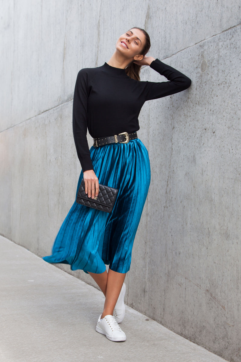 Teal Blue Velvet Pleated Midi Skirt