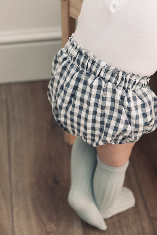 Cotton Navy Gingham Bloomers (and bonnet)