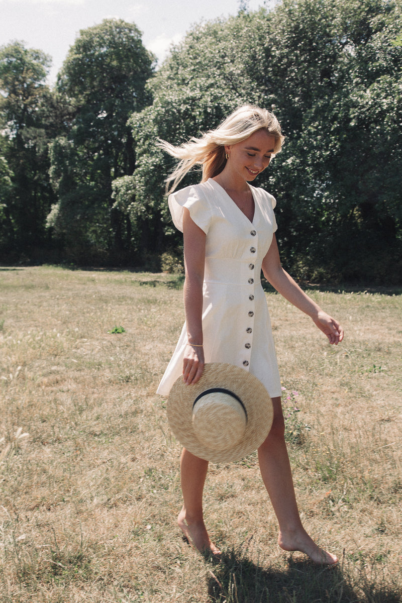 White Cotton Button Down Mini Dress