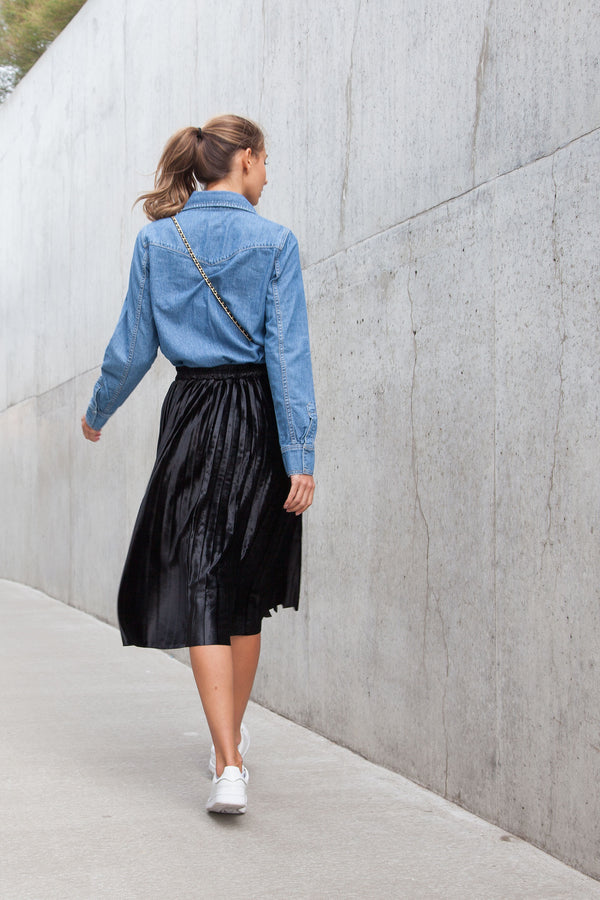 Black Velvet Pleated Midi Skirt
