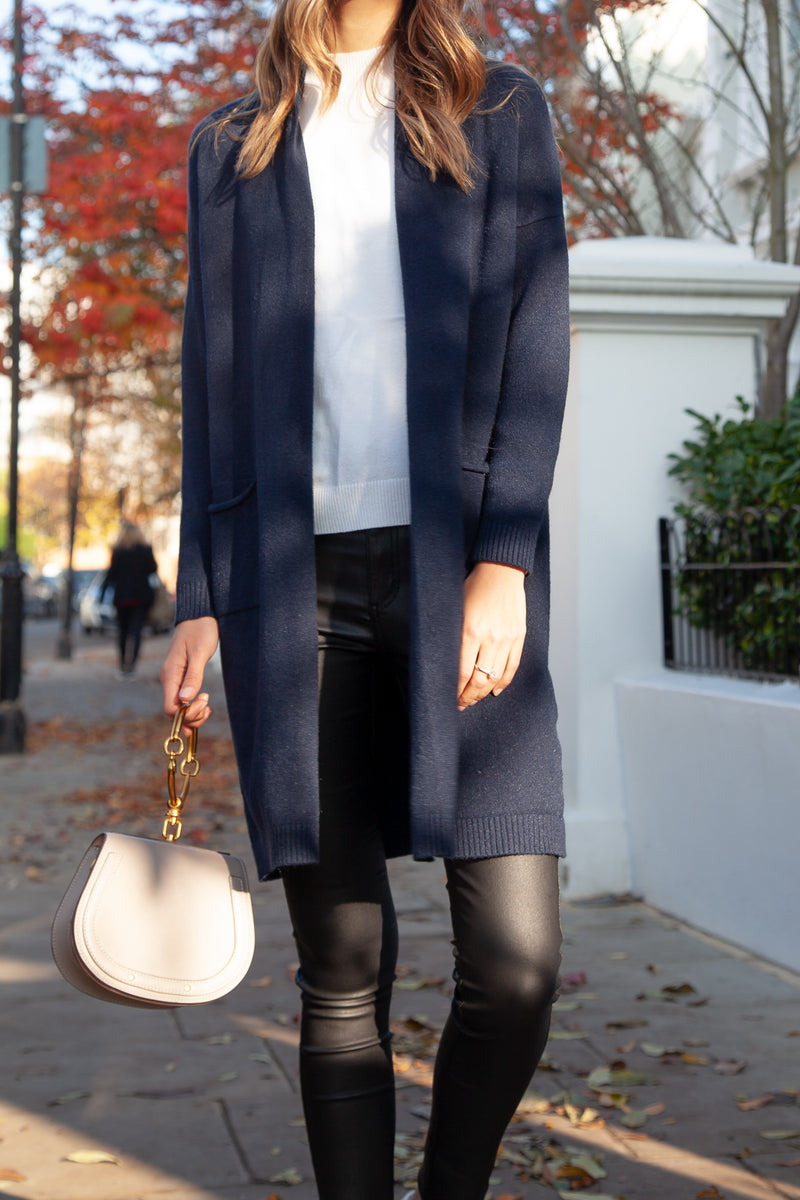 Soft Longline Cardi in Dark Navy
