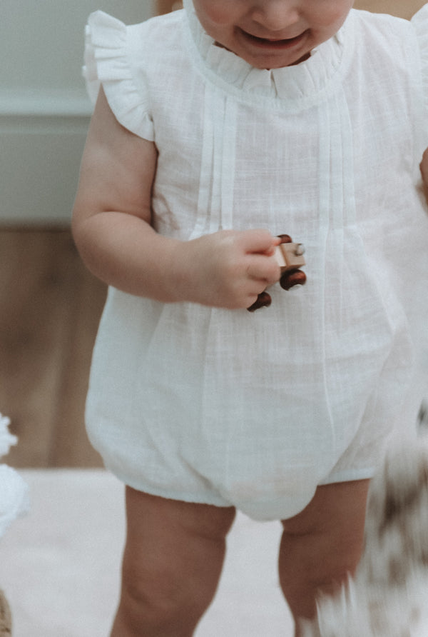 White Frill Shoulder Romper