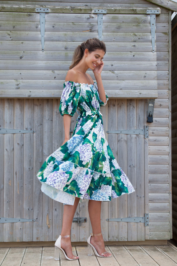 Off Shoulder Hydrangea Bardot Midi Dress