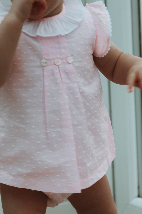 Pink Cotton Dobby Spot Dress & Bloomers Set