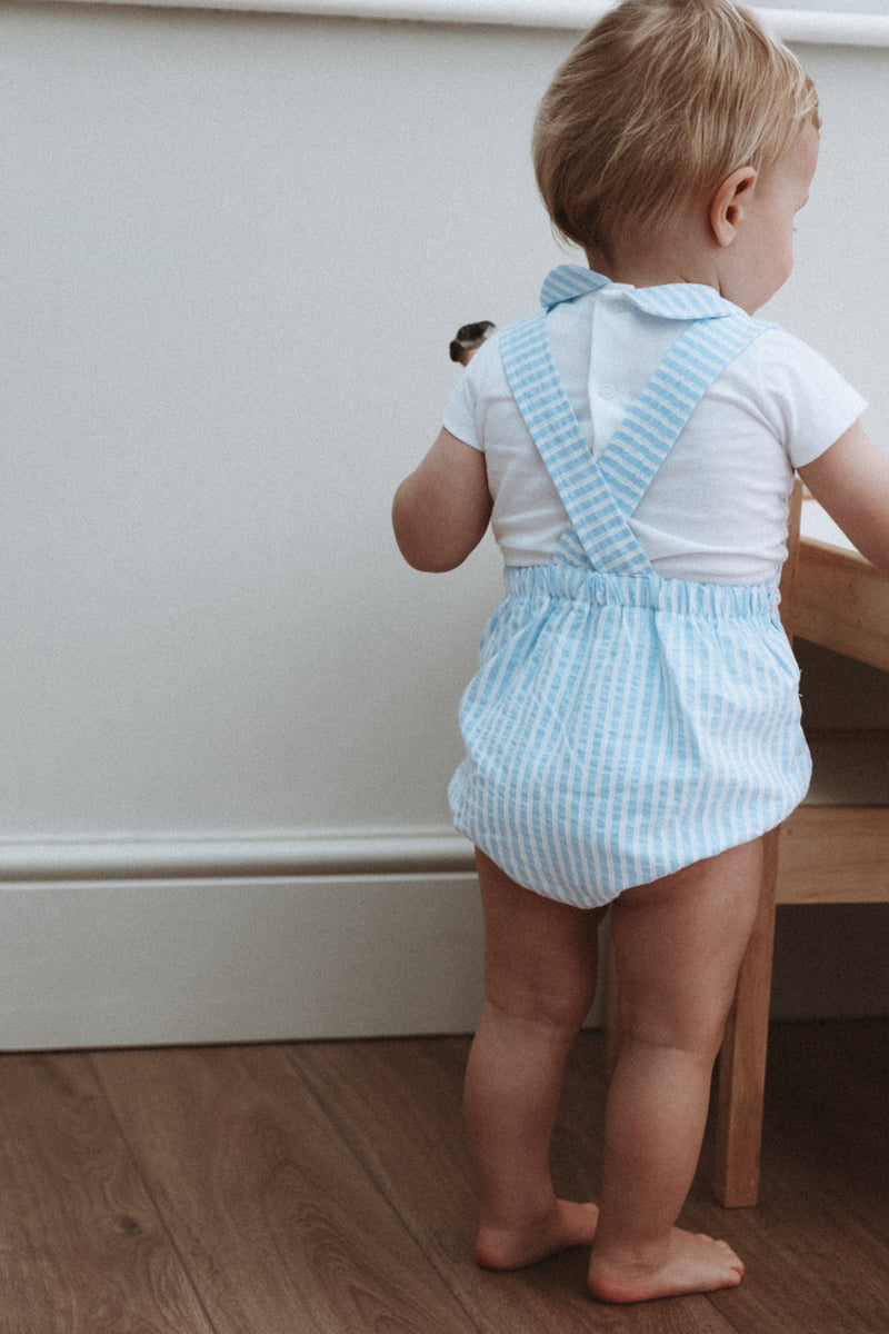 Blue/White Stripe Romper & Top Set