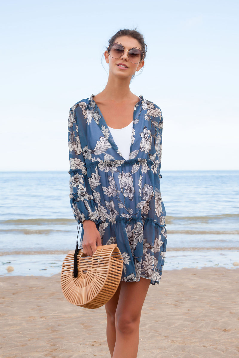 Blue Floral Oversized Beach Cover Up