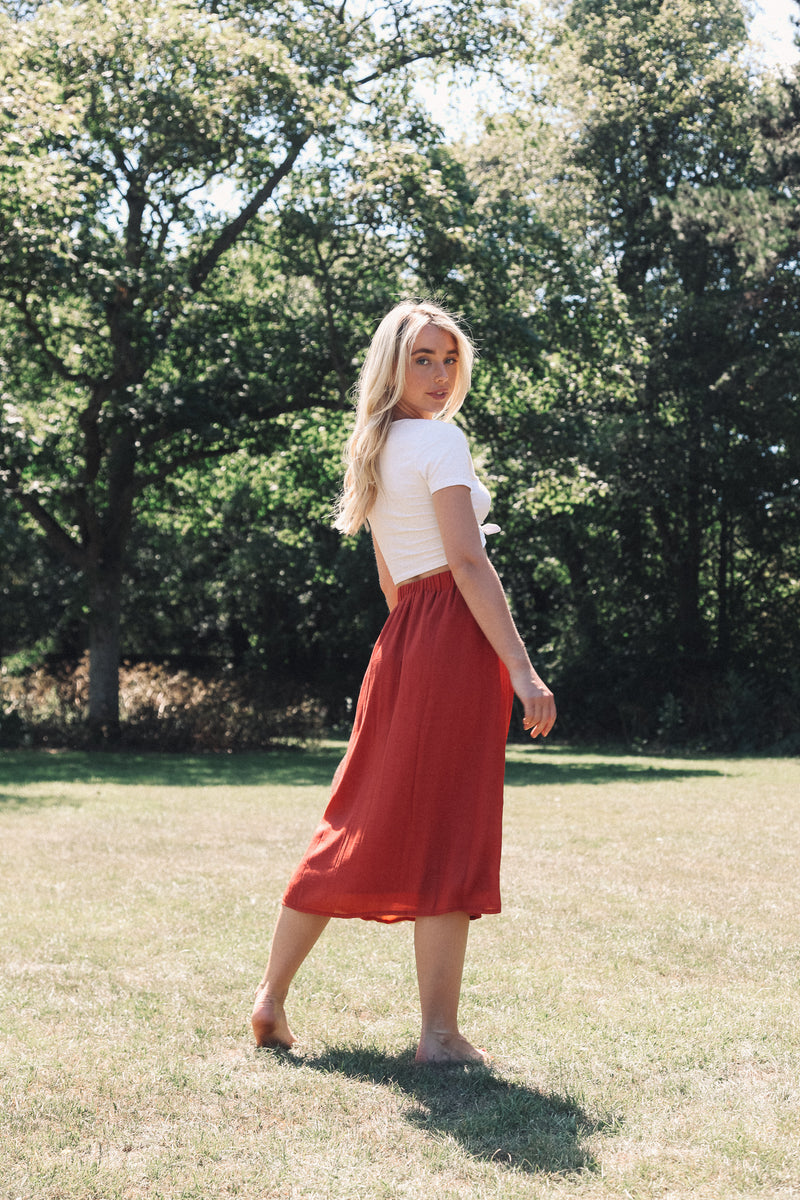 Rust Button Down Midi Skirt