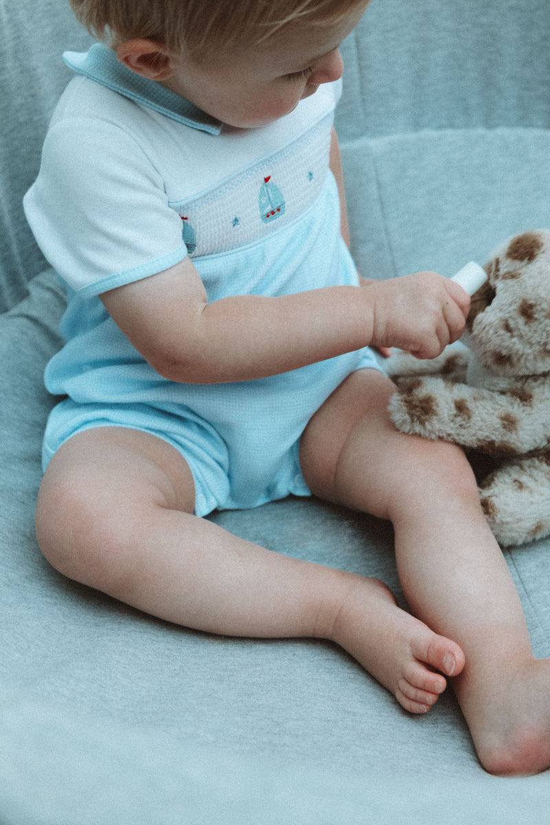 Blue Sail Boats Smocked Cotton Romper