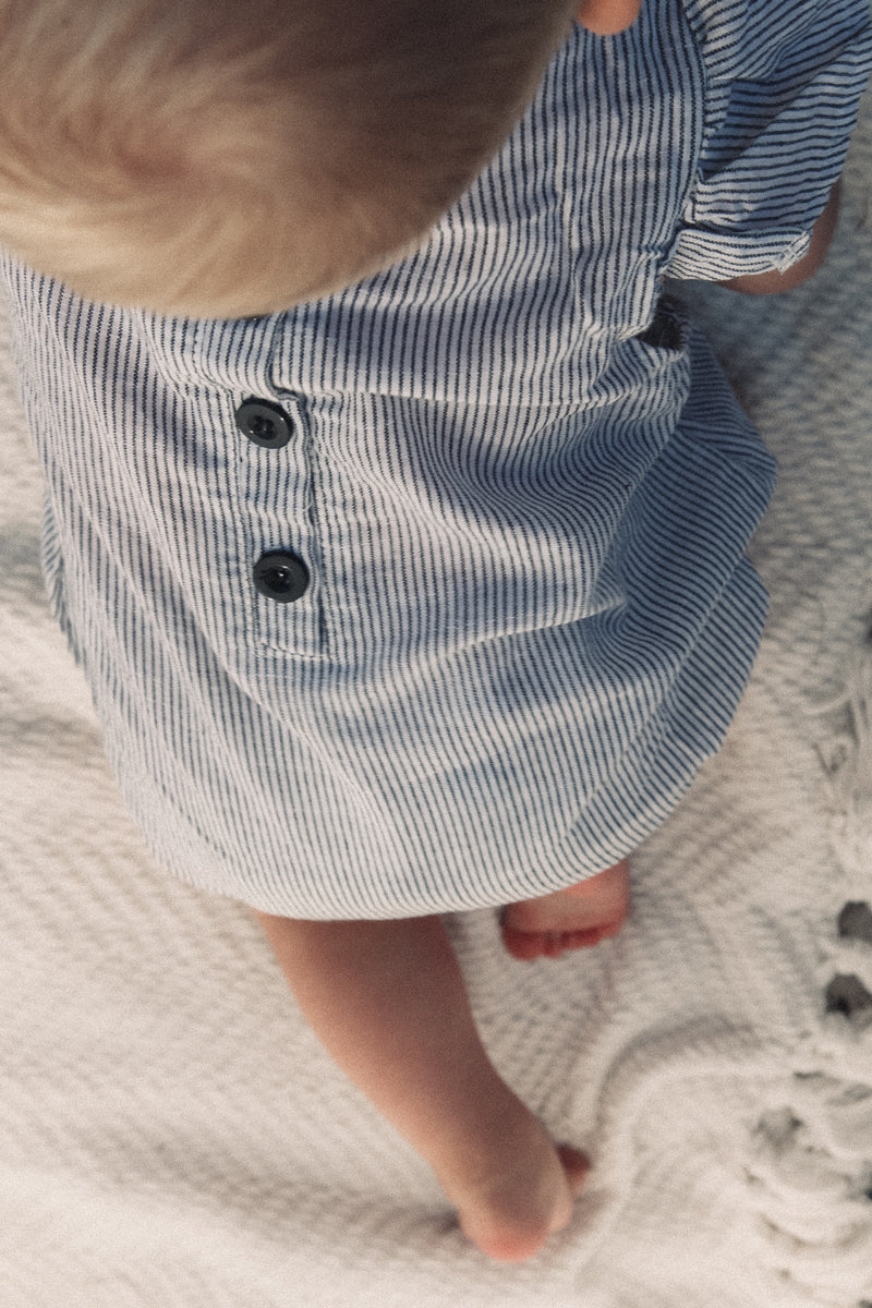 Cotton Stripe Frill Romper