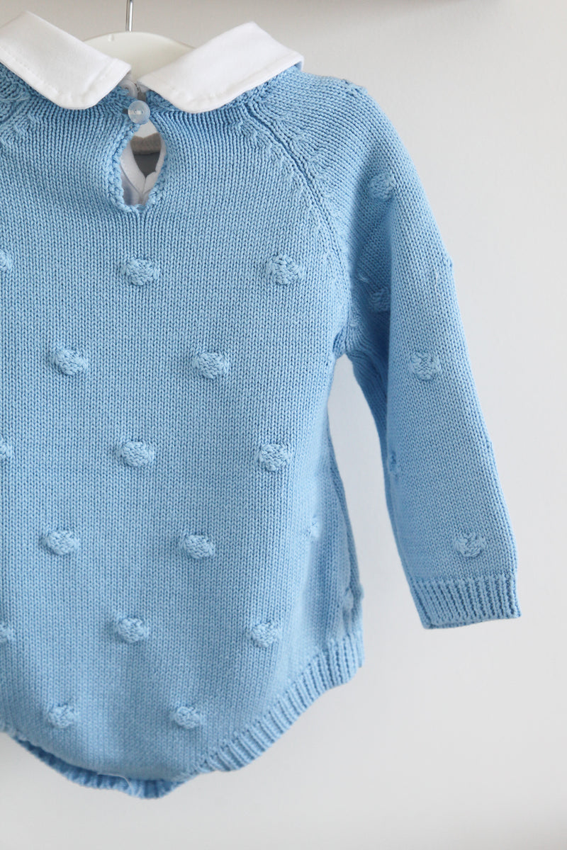 Baby Blue Bobble Knitted Romper Traditional Baby Boy Knitted Outfits