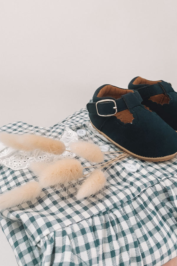 Navy Suede Scalloped Buckle Pram Shoes