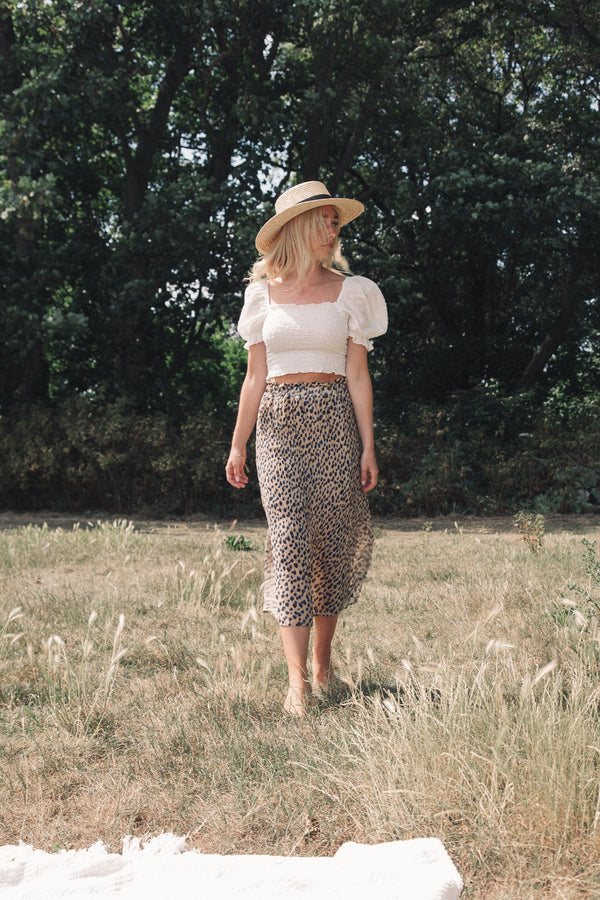 Leopard Pleated Chiffon Midi Skirt