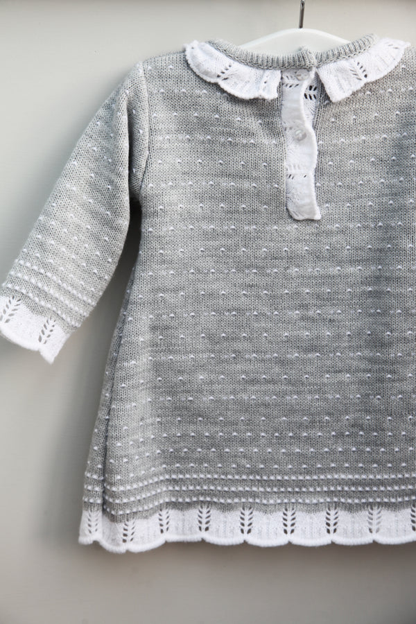 Grey White Knitted Dot Dress