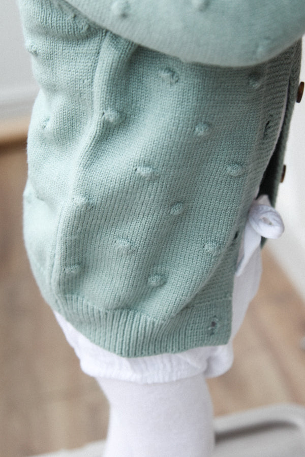 Soft Sage Green Bobble Cardigan