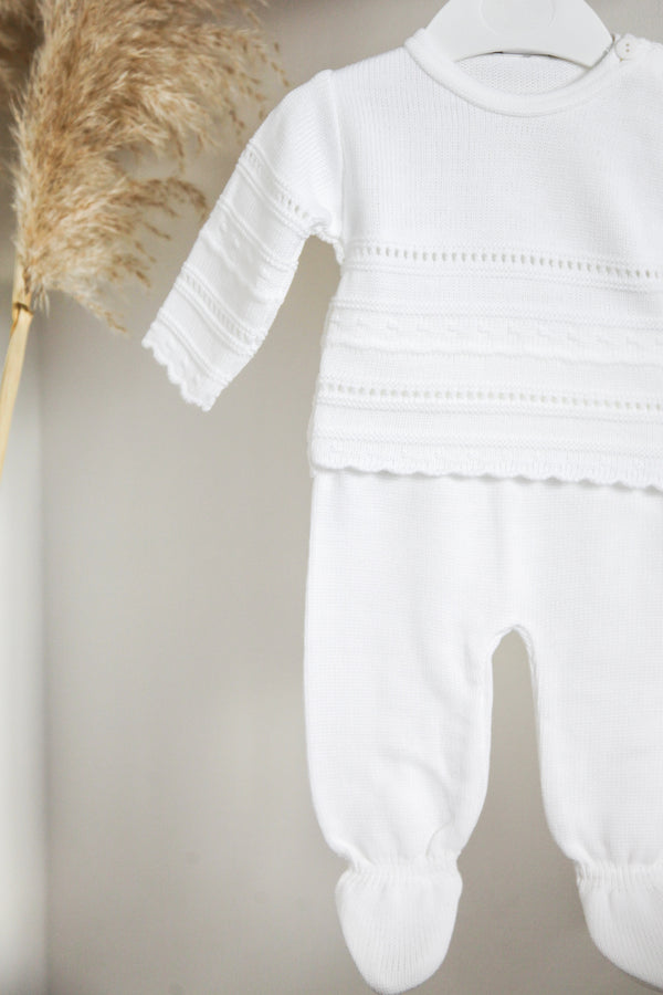 White Knitted Two Piece Set Traditional Spanish Portugal Knitted Baby Boy Girl Clothes