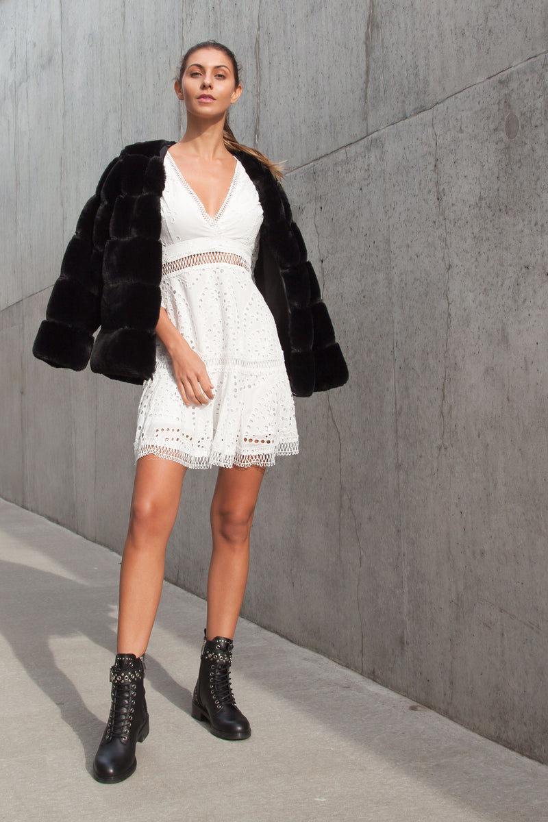 White Broderie Flare Sleeve Dress