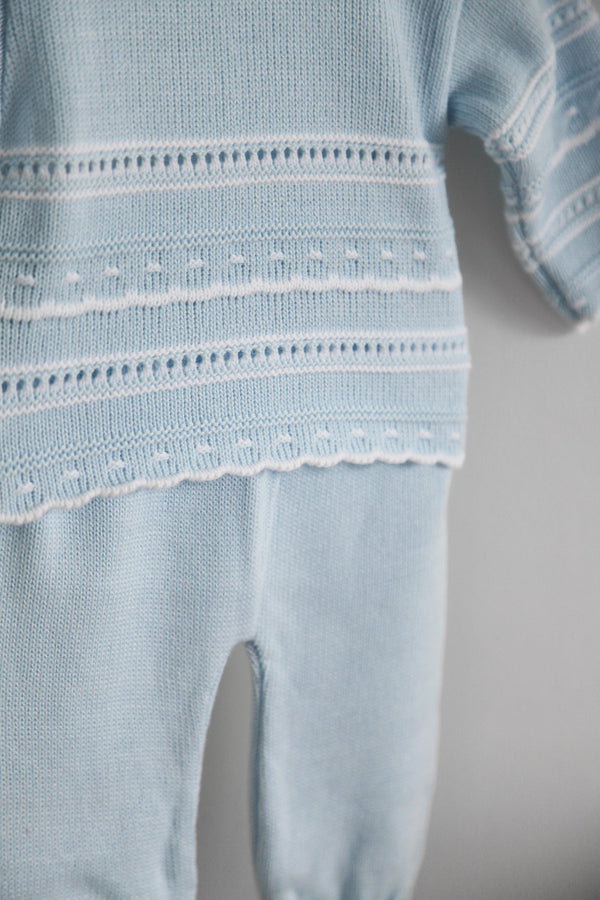 Baby Blue Knitted Two Piece Set Traditional Spanish Portugal Knitted Baby Boy Clothes