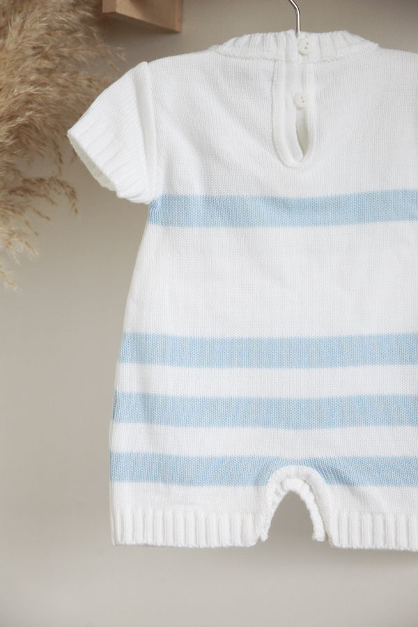 White/Baby Blue Stripe Knitted Shorts Romper Traditional Spanish Portugal Knitted Baby Boy Girl Clothes